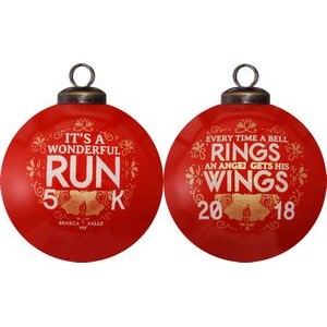It's A Wonderful Run Christmas Glass Ornament